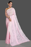 Buy gorgeous light pink Lucknowi chikankari work georgette saree online in USA. Flaunt your sartorial choice with beautiful embroidered sarees, handwoven sarees, georgette sarees, pure silk sarees from Pure Elegance Indian saree store in USA.-full view
