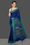 Buy gorgeous dark blue cotton silk sari online in USA with weave border and pallu. Flaunt Indian fashion in USA with a stunning collection of handwoven sarees, cotton sarees, pure silk sarees, designer sarees in USA from Pure Elegance Indian saree store in USA.-full view
