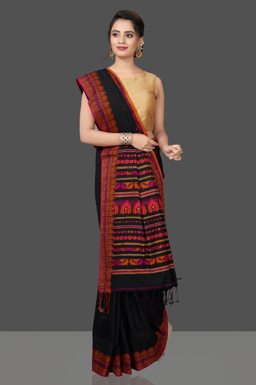 Shop attractive black cotton silk saree online in USA with weave border and pallu. Flaunt Indian fashion in USA with a stunning collection of handwoven sarees, cotton sarees, pure silk sarees, designer sarees in USA from Pure Elegance Indian saree store in USA-full view