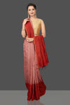 Buy stunning pink and red matka shibori saree online in USA with check zari border. Flaunt Indian fashion in USA with a stunning collection of handwoven sarees, cotton sarees, pure silk sarees, printed saris in USA from Pure Elegance Indian saree store in USA.-full view
