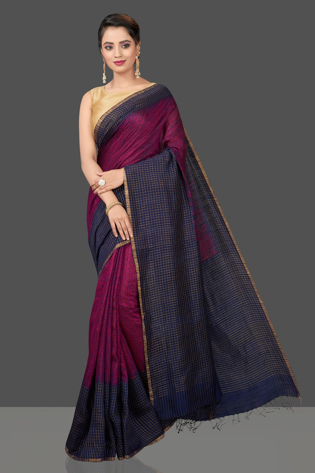 Buy elegant blue and pink matka shibori saree online in USA with check zari border. Flaunt Indian fashion in USA with a stunning collection of handwoven sarees, cotton sarees, pure silk sarees, printed saris in USA from Pure Elegance Indian saree store in USA.-full view