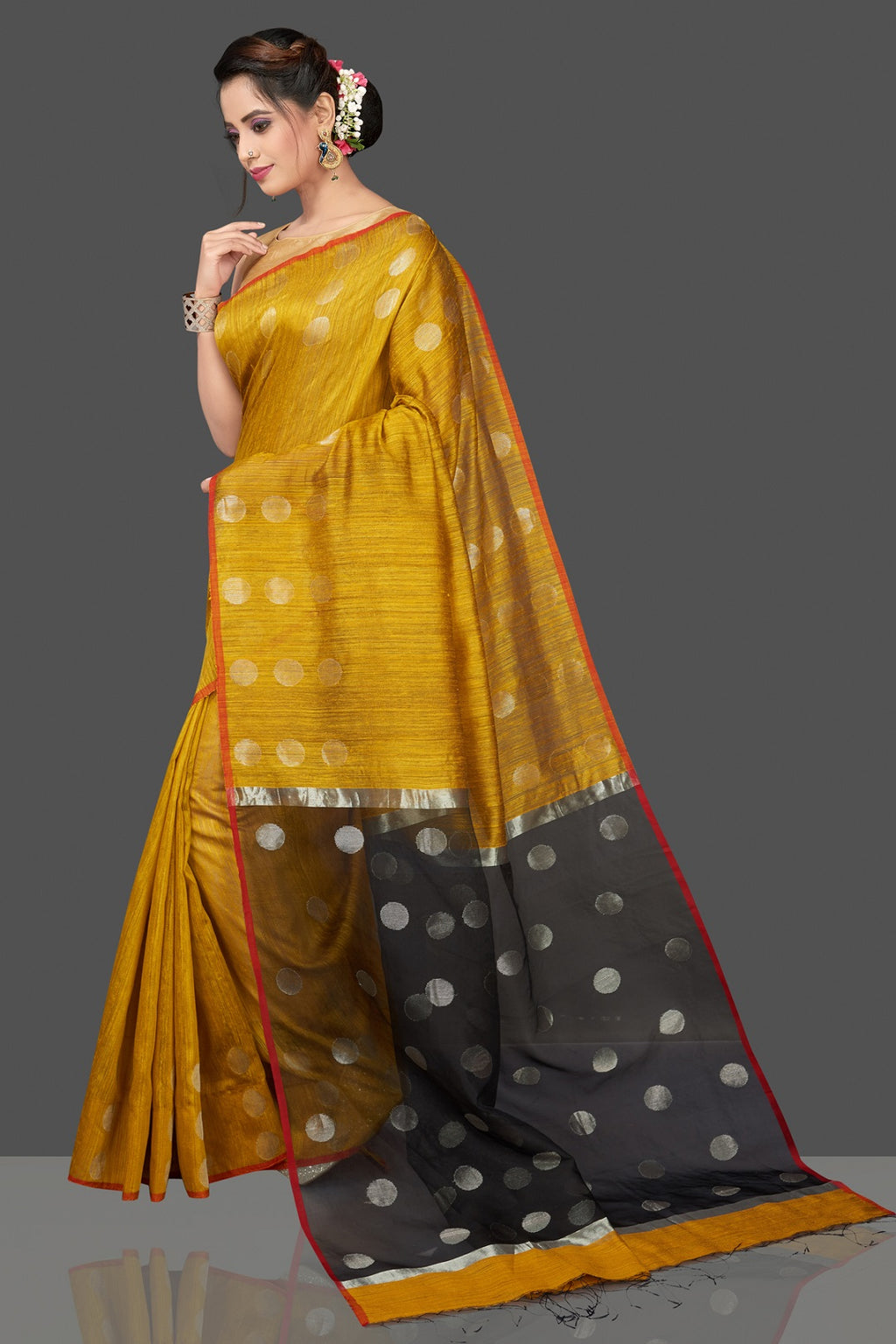 Shop stunning mustard matka silk saree online in USA with silver circle buta. Flaunt Indian fashion in USA with a stunning collection of handwoven sarees, cotton sarees, pure silk sarees, printed saris in USA from Pure Elegance Indian saree store in USA.-full view