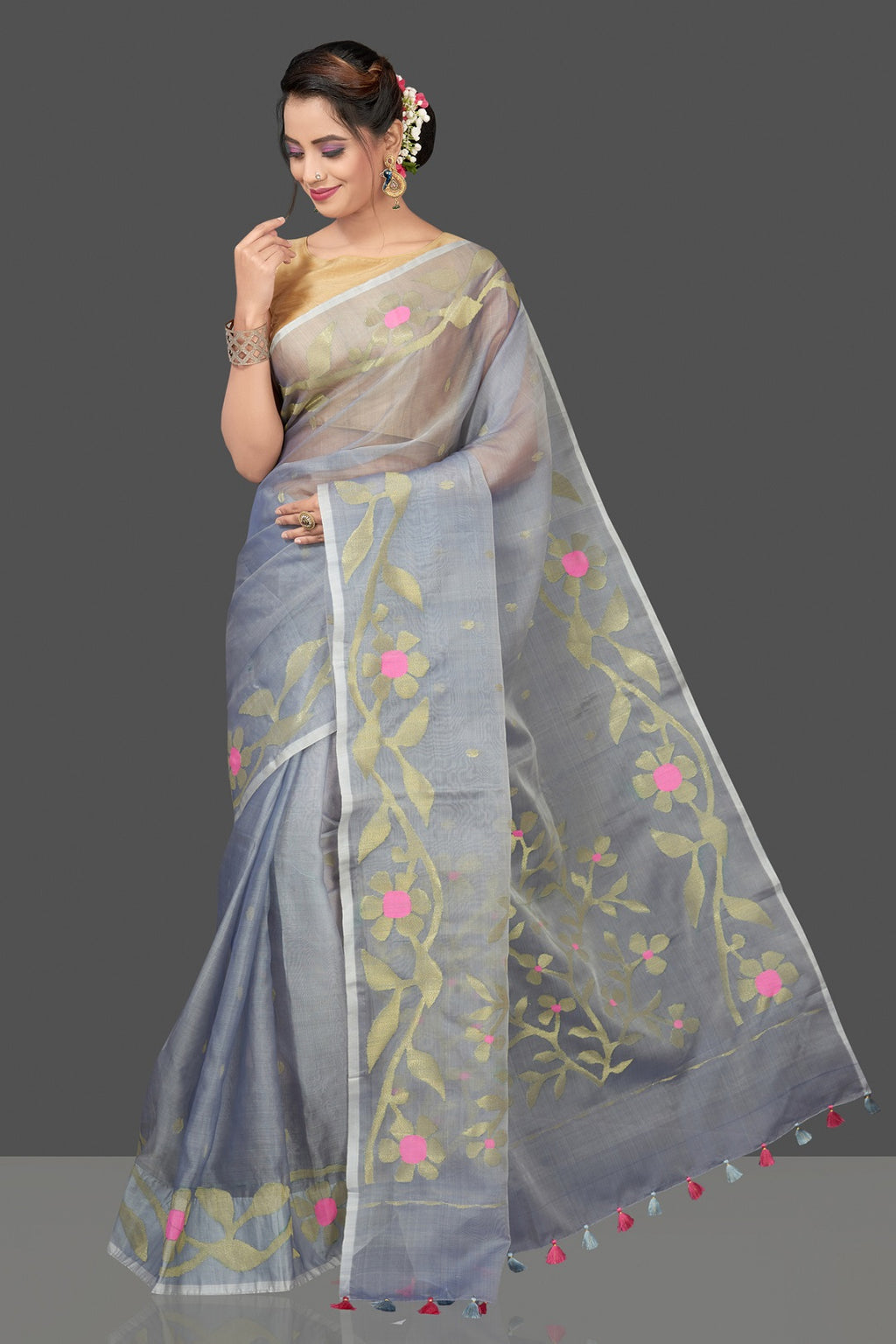 Shop stunning grey resham Jamdani sari online in USA. Flaunt Indian fashion in USA with a stunning collection of handwoven sarees, cotton saris, pure silk sarees, printed saris in USA from Pure Elegance Indian saree store in USA.-full view