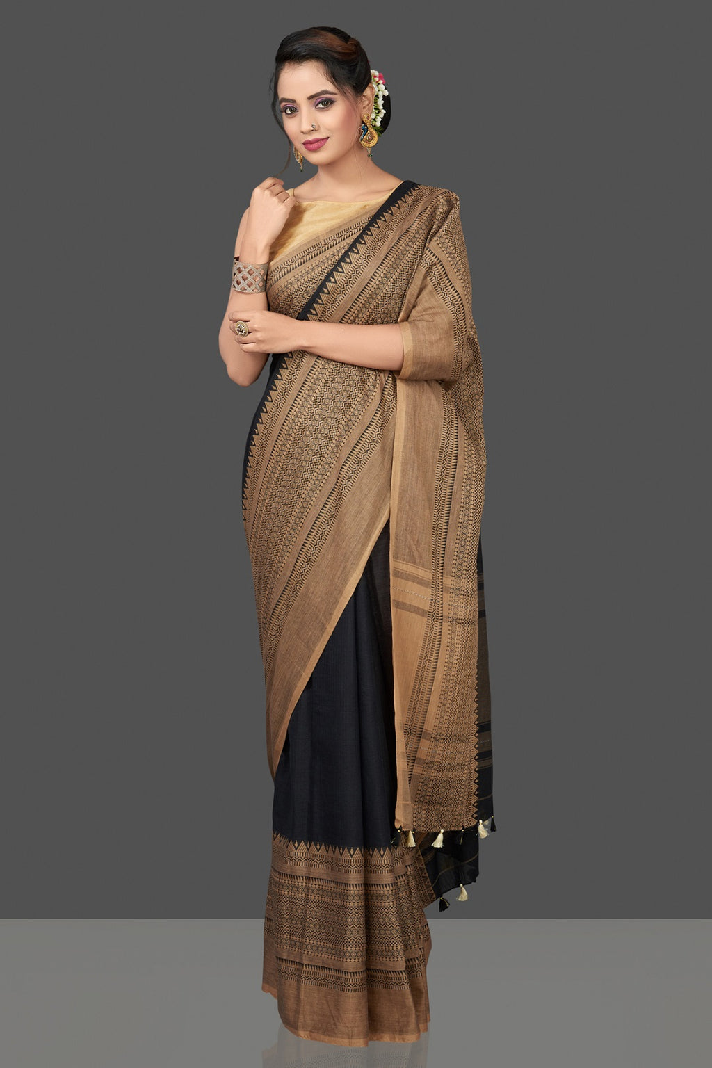 Shop gorgeous black cotton sari online in USA with beige weave border. Flaunt Indian fashion in USA with a stunning collection of handwoven sarees, cotton saris, pure silk sarees, printed saris in USA from Pure Elegance Indian saree store in USA.-full view