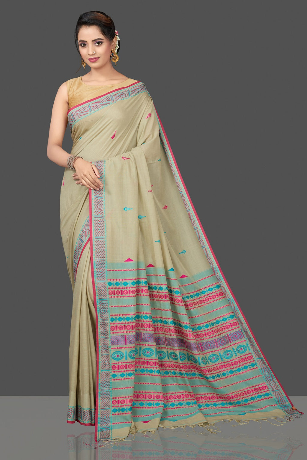 Buy beautiful light green cotton sari online in USA with pink and green weave pallu. Flaunt Indian fashion in USA with a stunning collection of handwoven sarees, cotton saris, pure silk sarees, printed saris in USA from Pure Elegance Indian saree store in USA.-full view