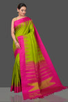 Buy stunning pista green Kanjivaram silk saree online in USA with pink temple border. Be the center of attraction at weddings and festive occasions in the stunning handwoven silk sarees, Kanchipuram silk sarees, zari work sarees, Banarasi sarees from Pure Elegance Indian saree store in USA.-full view