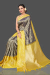 Buy beautiful grey overall zari work Kanjivaram saree online in USA with yellow zari border. Be the center of attraction at weddings and festive occasions in the stunning handwoven silk sarees, Kanchipuram silk sarees, zari work sarees, Banarasi sarees from Pure Elegance Indian saree store in USA.-full view