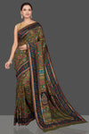 Buy stunning olive green silk saree online in USA with Kani embroidery. Get ready on festive occasions and weddings with beautiful designer sarees, embroidered sarees, handwoven sarees from Pure Elegance Indian clothing store in USA.-full view