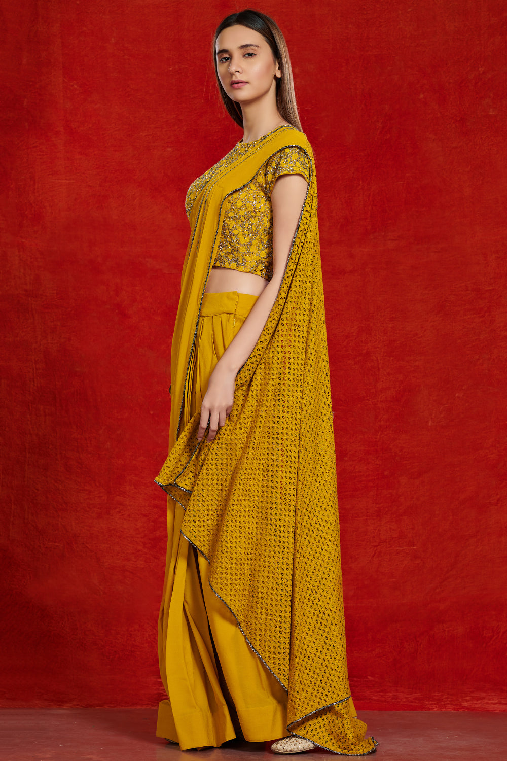 Buy beautiful mustard yellow embellished saree online in USA with keyhole blouse. Make a fashion statement on festive occasions and weddings with palazzo suits, sharara suits, partywear dresses, salwar suits from Pure Elegance Indian fashion store in USA.-side