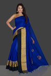 Buy beautiful indigo blue floral applique linen saree online in USA with floral saree blouse. Radiate elegance with designer sarees with blouse, linen sarees from Pure Elegance Indian fashion boutique in USA. We bring a especially curated collection of ethnic saris for Indian women in USA under one roof!-full view