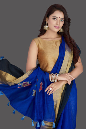 Buy beautiful indigo blue floral applique linen saree online in USA with floral saree blouse. Radiate elegance with designer sarees with blouse, linen sarees from Pure Elegance Indian fashion boutique in USA. We bring a especially curated collection of ethnic saris for Indian women in USA under one roof!-closeup