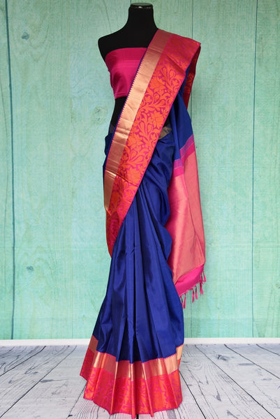 90C447 Blue Kanchipuam Saree With Pink & Orange Paisley Border