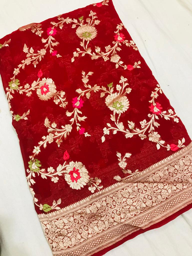 Shop stunning red georgette Banarasi saree online in USA. Make a fashion statement at weddings with stunning designer sarees, embroidered sarees with blouse, wedding sarees, handloom sarees from Pure Elegance Indian fashion store in USA.-full view