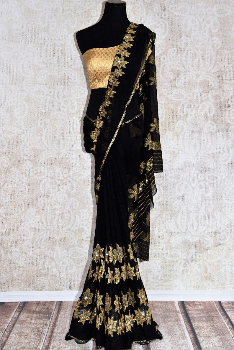 Black w/ jeweled flower pattern thread-work embroidered saree. Perfect party saree for Indian casual party. - full view