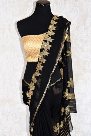 Black w/ jeweled flower pattern thread-work embroidered saree. Perfect party saree for Indian casual party. -pallu