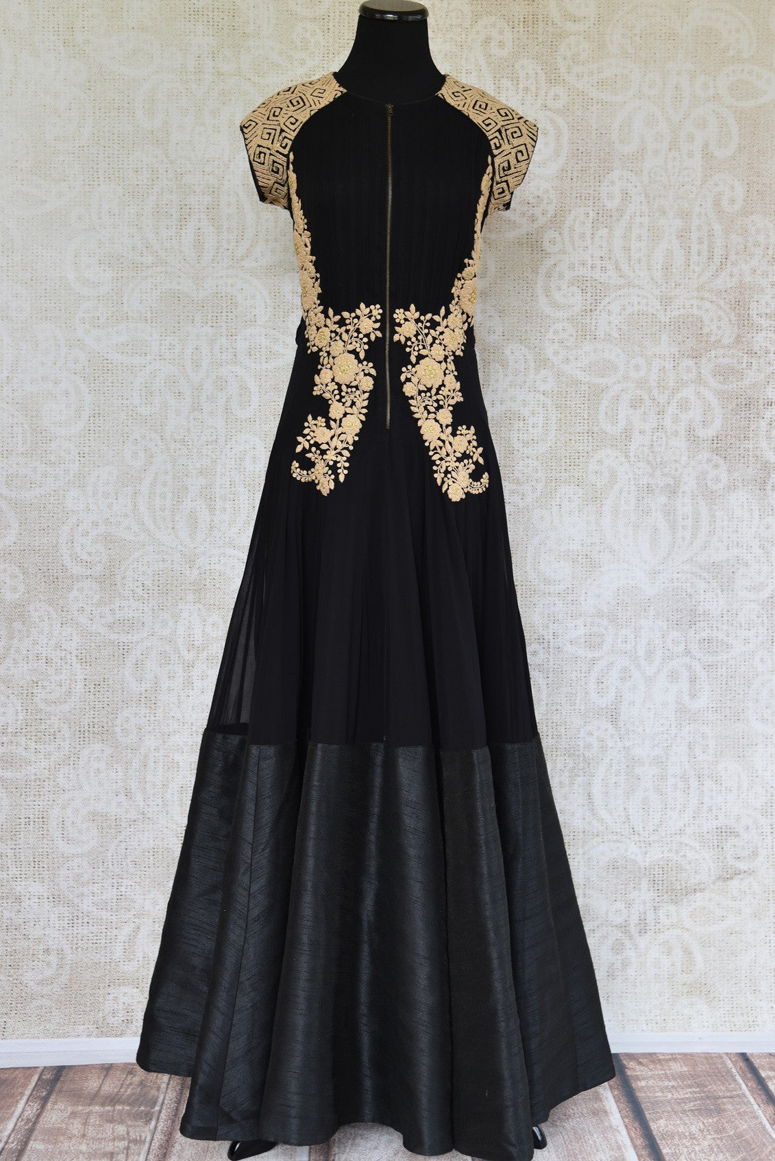Buy this ethnic Indian black and golden dress online or from our Pure Elegance store in USA. The Bollywood-inspired dress is ideal for any wedding or reception. Front View.