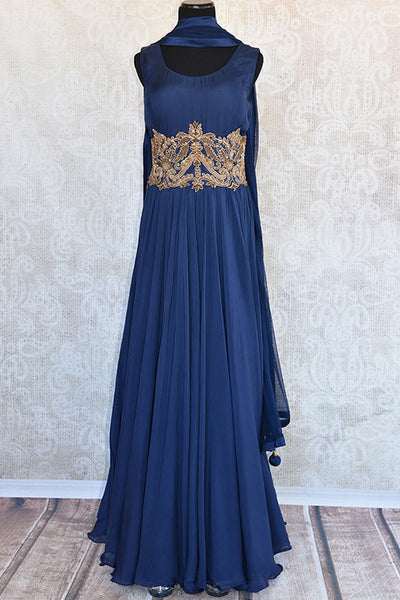 Navy Indian silk three piece anarkali suit with golden patch embroidery in front and back. Gorgeous party wear.-Full view