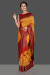 Shop mustard Banarasi silk sari online in USA with antique zari red border. Keep it elegant with handwoven sarees, Banarasi silk sarees, soft silk sarees from Pure Elegance Indian fashion boutique in USA. We bring a especially curated collection of ethnic sarees for Indian women in USA under one roof!-full view