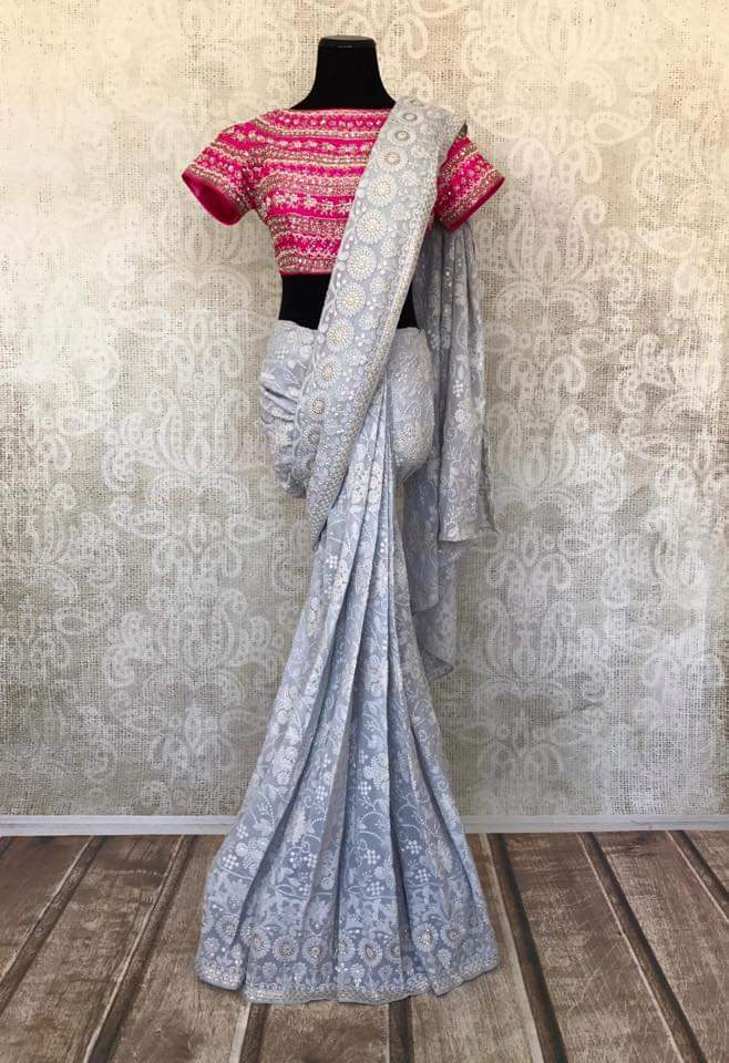 90A193-RO Grey Embroidered Saree With Rani Blouse