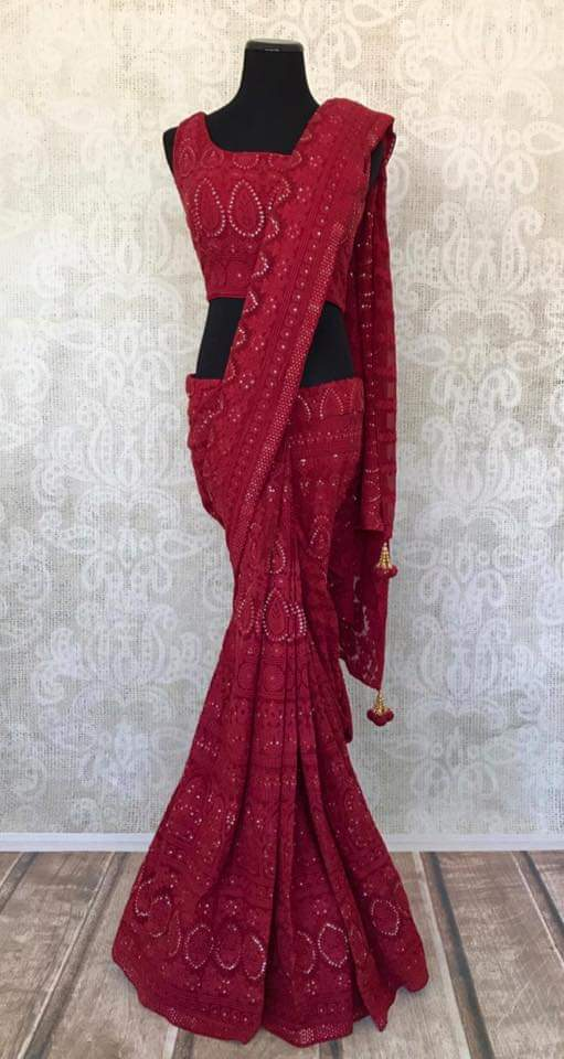 90A343-RO Red Lucknowi Saree