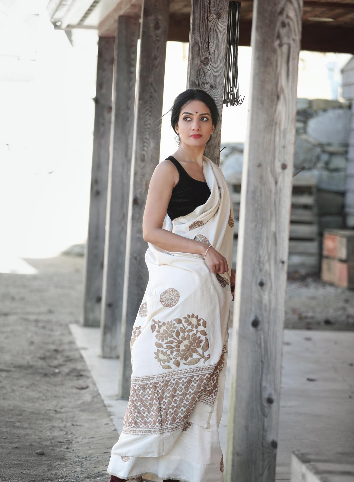 90A648-RO Cream Muga Banarasi Saree