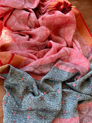 90K350-RO Brick Red and Grey Jacquard Linen Saree