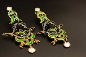 Shop Amrapali vibrant enamel and glass silver gold plated earrings online in USA. Raise your ethnic style quotient on special occasions with exquisite Indian jewelry from Pure Elegance Indian clothing store in USA. Enhance your Indian look with silver gold plated jewelry, necklaces, silver jewelry available online.-side