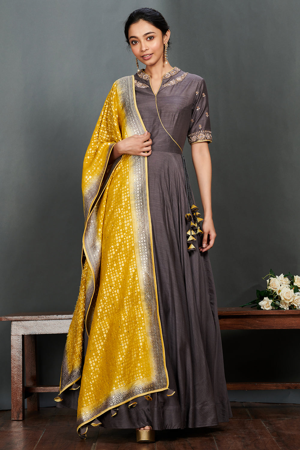 Buy stunning grey embroidered floorlength Anarkali online in USA with mustard dupatta. Make a fashion statement on festive occasions and weddings with palazzo suits, sharara suits, partywear dresses, salwar suits from Pure Elegance Indian fashion store in USA.-full view
