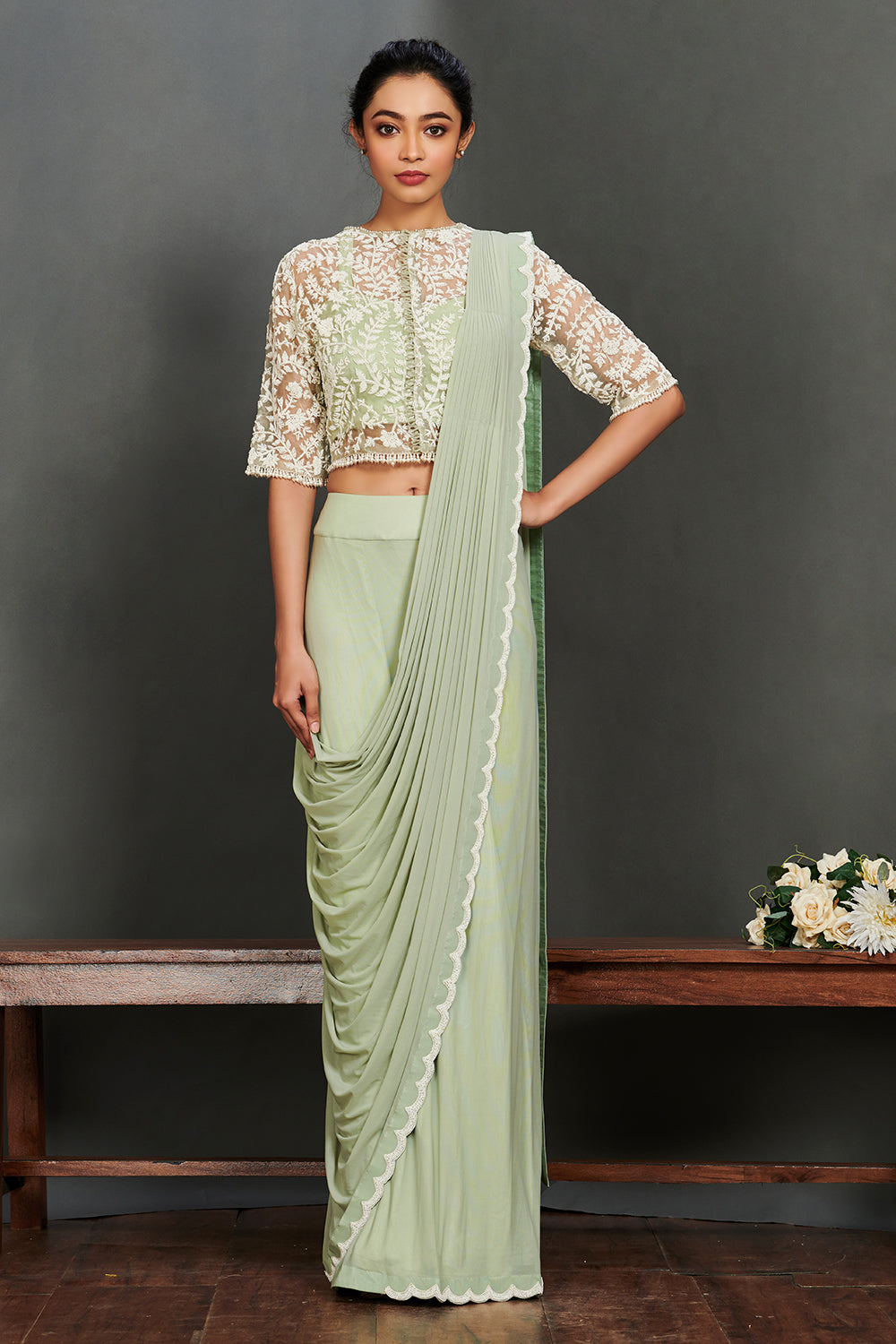 Buy beautiful mint green georgette saree online in USA with sheet jacket saree blouse. Make a fashion statement on festive occasions and weddings with palazzo suits, sharara suits, partywear dresses, salwar suits from Pure Elegance Indian fashion store in USA.-full view