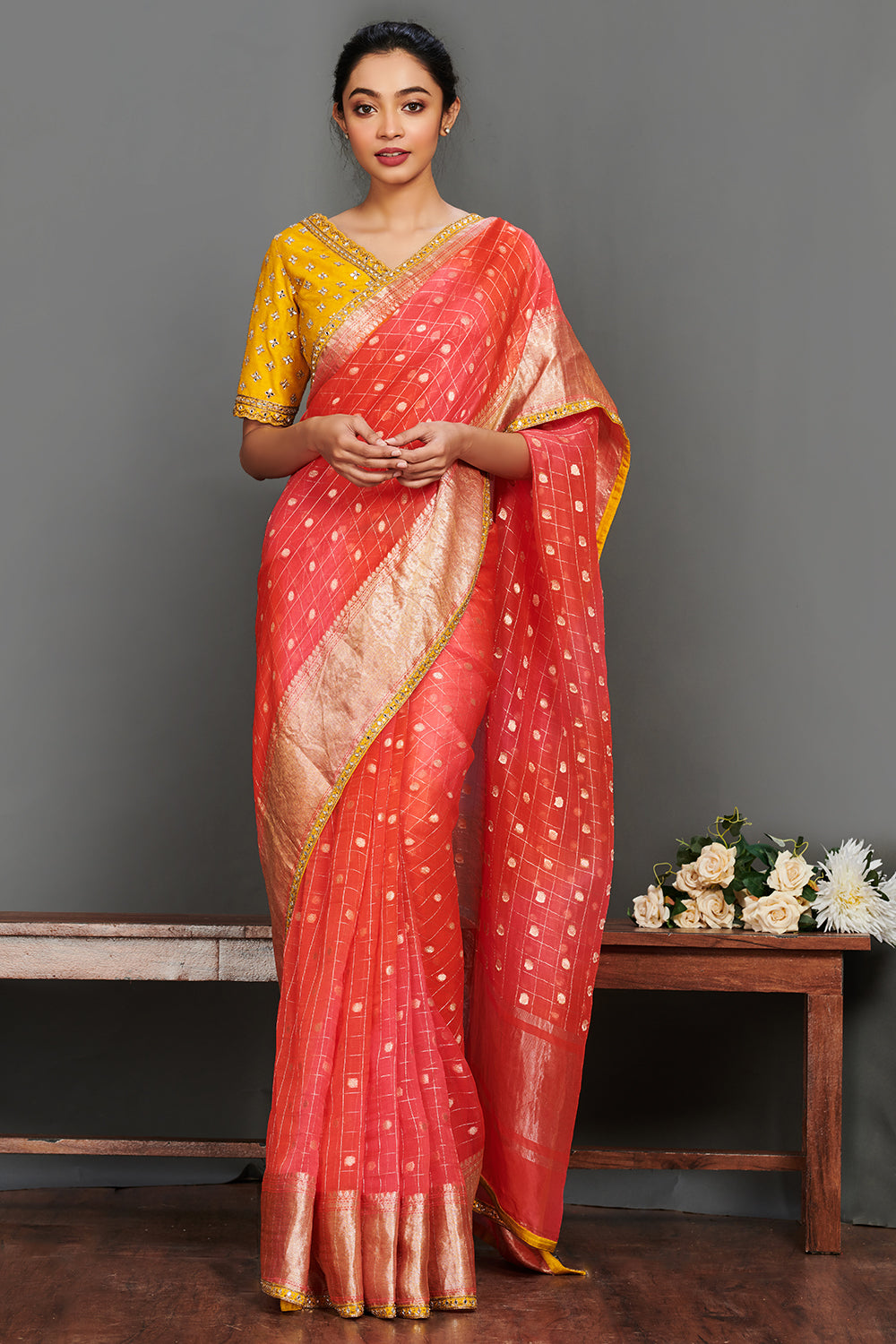 Buy stunning reddish pink embroidered saree online in USA with yellow saree blouse. Make a fashion statement on festive occasions and weddings with designer sarees, embroidered saris, handwoven saris, party wear sarees from Pure Elegance Indian fashion store in USA.-full view