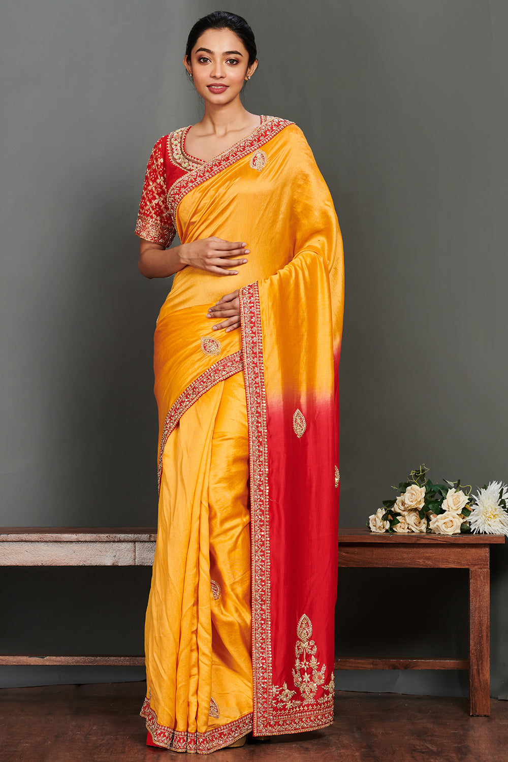 Shop stunning yellow handloom embroidered saree online in USA with red saree blouse. Make a fashion statement on festive occasions and weddings with designer sarees, embroidered saris, handwoven saris, party wear sarees from Pure Elegance Indian fashion store in USA.-full view