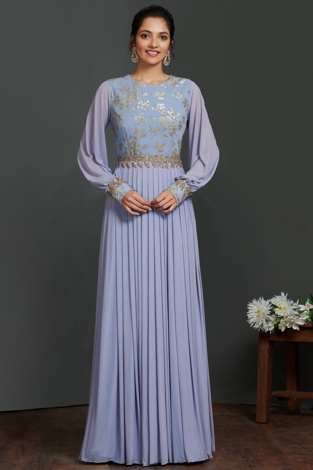 Buy stunning lavender balloon sleeves designer gown online in USA. Make a fashion statement on festive occasions and weddings with palazzo suits, sharara suits, partywear dresses, salwar suits, designer gowns from Pure Elegance Indian fashion store in USA.-full view