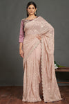 Buy stunning dusty pink chikankari saree online in USA with purple saree blouse. Make a fashion statement on festive occasions and weddings with designer sarees, embroidered saris, handwoven saris, party wear sarees from Pure Elegance Indian fashion store in USA.-full view