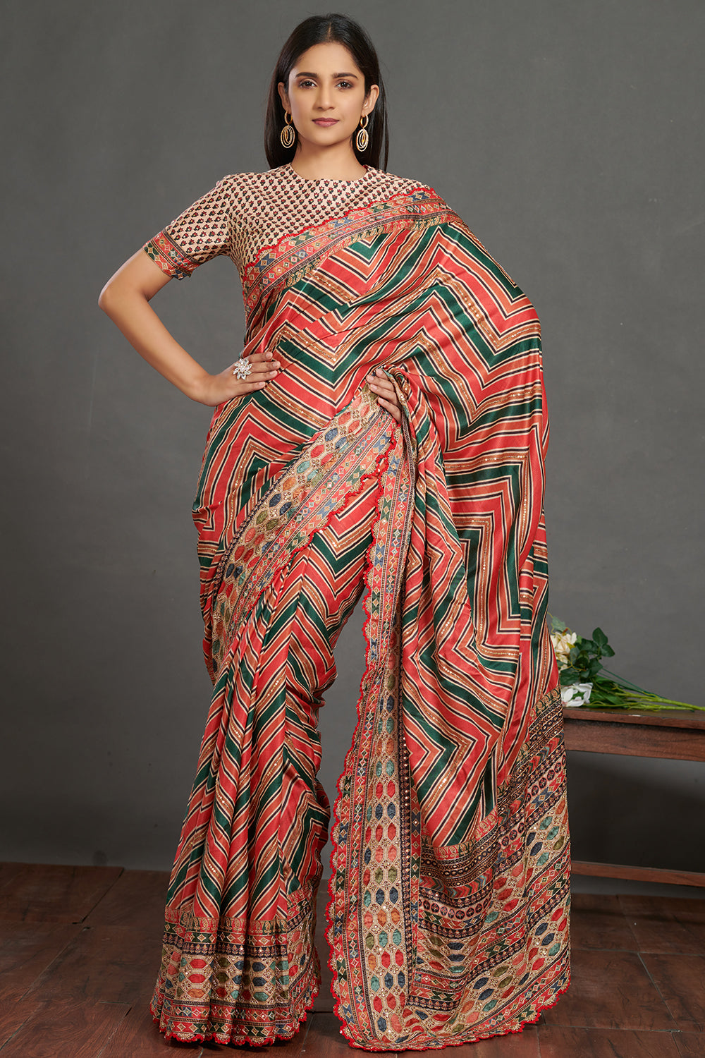 Shop stunning multicolor printed designer saree online in USA with blouse. Make a fashion statement on festive occasions and weddings with designer sarees, embroidered saris, handwoven saris, party wear sarees from Pure Elegance Indian fashion store in USA.-full view