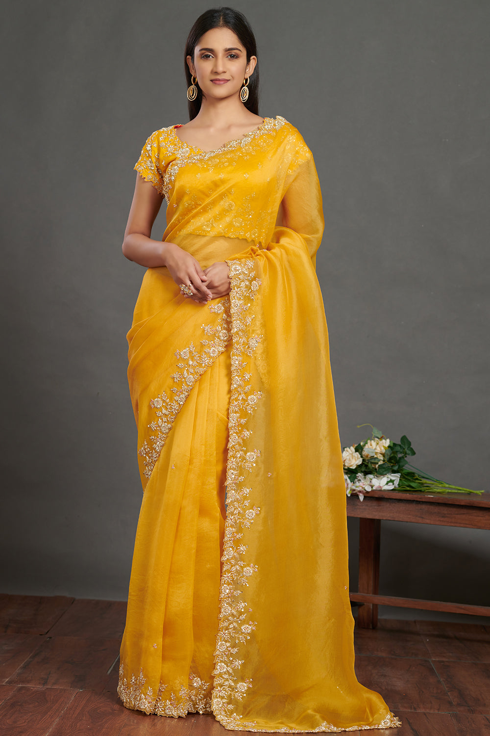 Shop stunning yellow embroidered organza saree online in USA with saree blouse. Make a fashion statement on festive occasions and weddings with designer sarees, embroidered saris, handwoven saris, party wear sarees from Pure Elegance Indian fashion store in USA.-full view