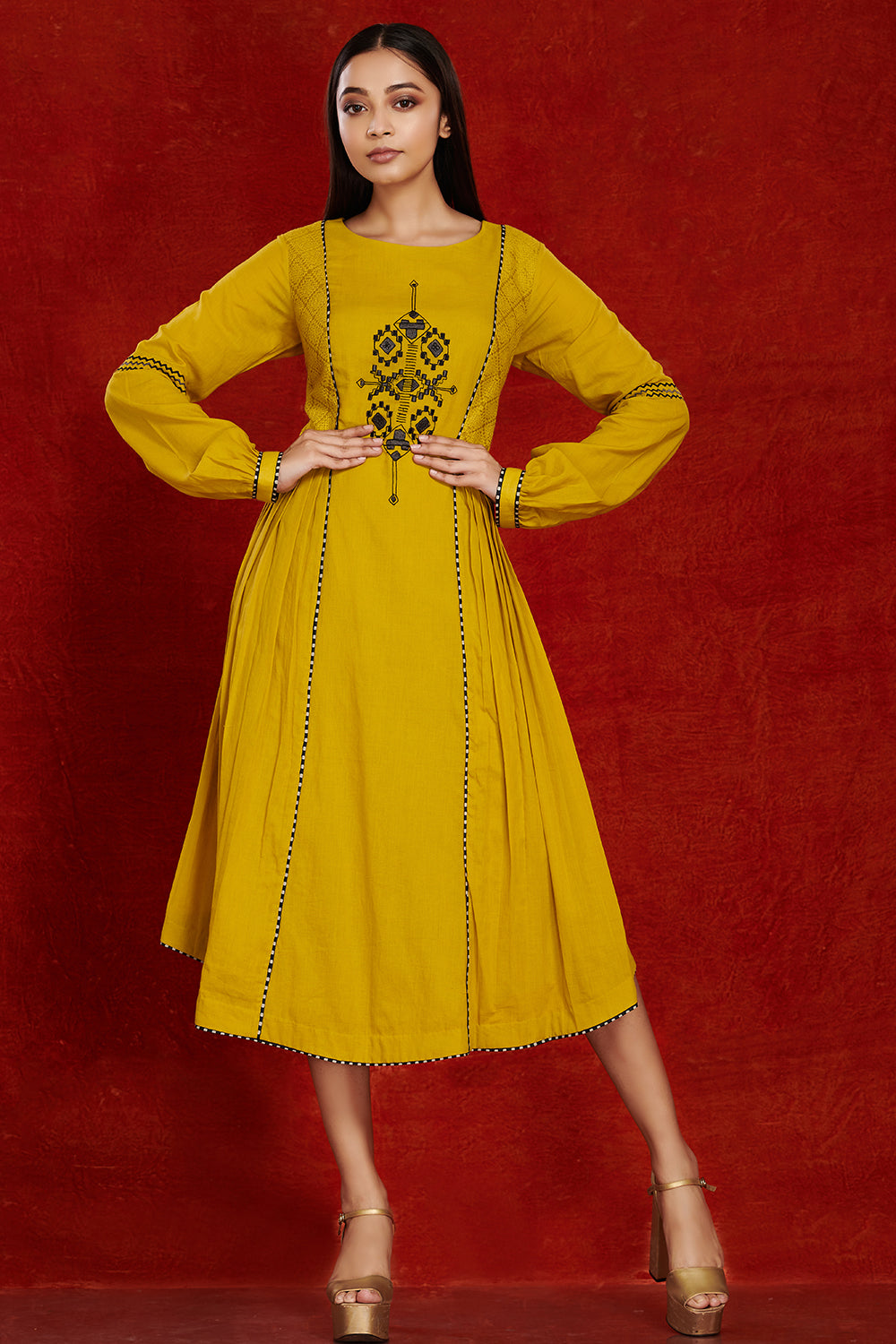 Shop stunning mustard side pleated cotton midi dress online in USA. Make a fashion statement on festive occasions and weddings with palazzo suits, sharara suits, partywear dresses, salwar suits from Pure Elegance Indian fashion store in USA.-full view