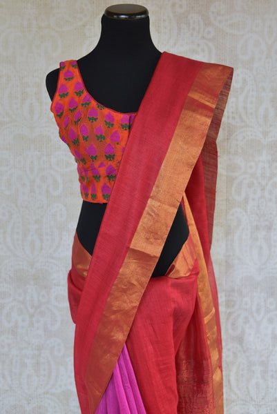 90C275 Red and pink saree online at Pure Elegance with a soft gold border. The plain tussar sari is an evergreen ethnic outfit, great for festive occasions and pujas. This one is a must-have in your Indian wear wardrobe.