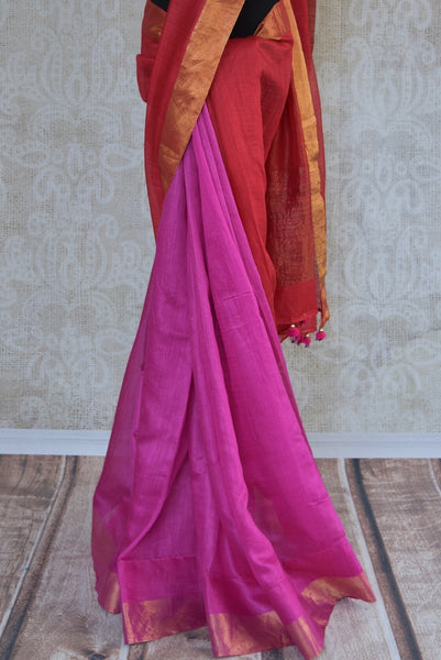 90C275 Red and pink saree online in USA at our store Pure Elegance with a soft gold border. The simple tussar saree is a versatile Indian ethnic outfit, ideal for festive occasions and pujas.