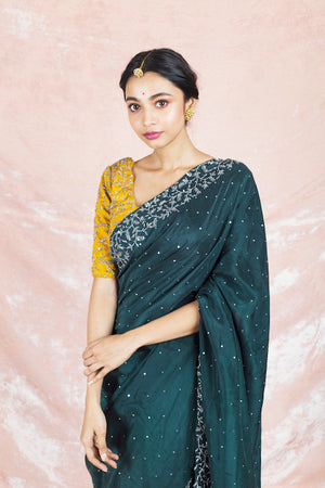 90Z082-RO Dark Green Embroidered Silk Sari with Embroidered Yellow Blouse