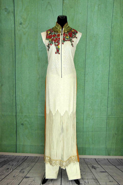 500734, Shop this ethnic Indian Pure Elegance white floral parallel suit online or from our store in USA. It is ideal for any reception, sangeet, wedding or birthday party. White and Red.