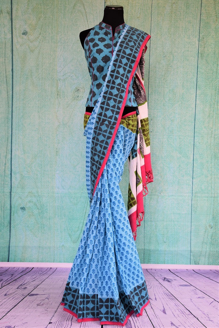 90C538 Blue Cotton Saree With Dabu Prints