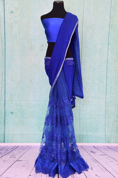 90C214 A half-n-half lace and chiffon saree in a rich blue shade. Buy this ethnic party wear saree online in USA at our Indian clothing store - Pure Elegance. This bold sari is sure to get the hearts fluttering.