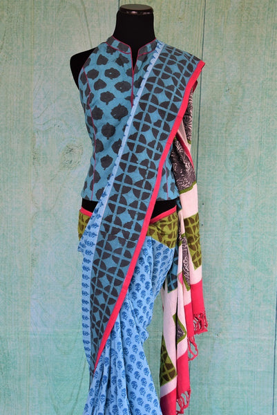 90C538 Blue Cotton Saree With A Dabu Print