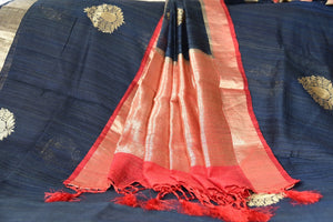90C476 Black Handloom Benarasi Saree With Zari Border