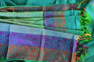 90C434 Blue-Green Kanchipuram Saree Paisley Border