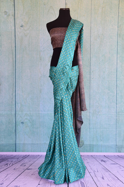 90C549 Blue Bandhej Saree With Ajrak Printed Blouse & Pallu