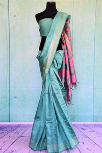 90C390 Sea Green Bhagalpuri Saree With Pink Pallu