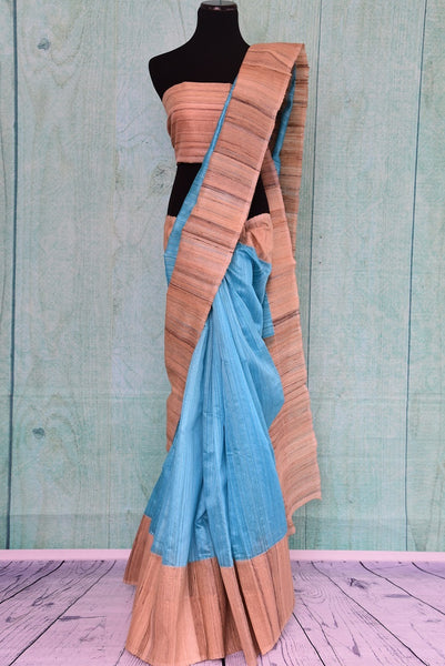 90A964 Want a simple traditional saree online in USA? Buy this beige & blue gicha silk saree from India that's ideal for pujas and wedding functions.
