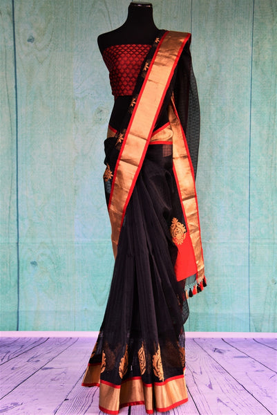 90C457 Black Gold & Red Kora Saree