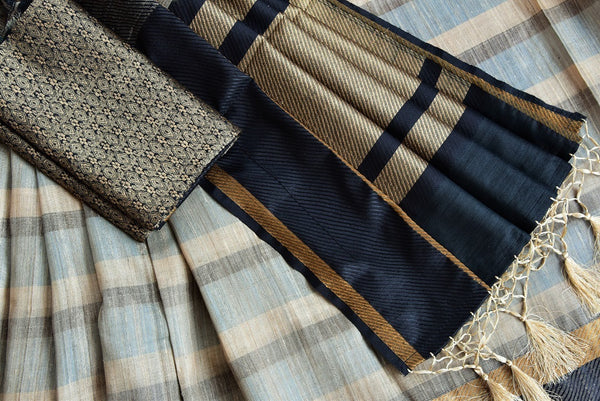 90C490 Black Grey & Gold Tussar Saree With Stripes
